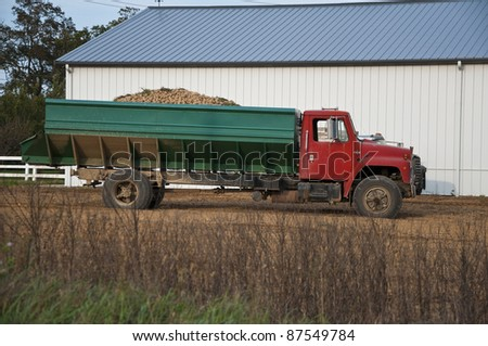 Truck loaded with freshly harvested potatoes - stock photo