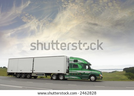 truck, lorry driving in morning light
