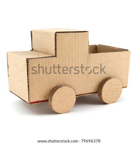 truck model made from Corrugated paper isolated on white background - stock photo