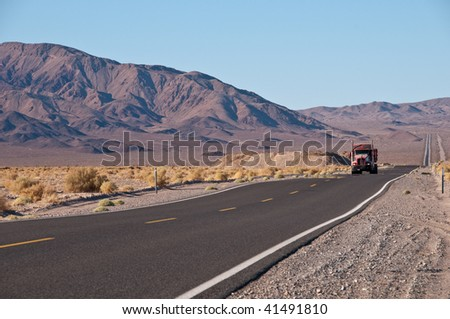 Truck on the California desert road