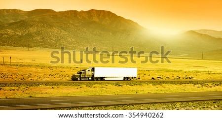 Truck on the road, Arizona, USA - stock photo