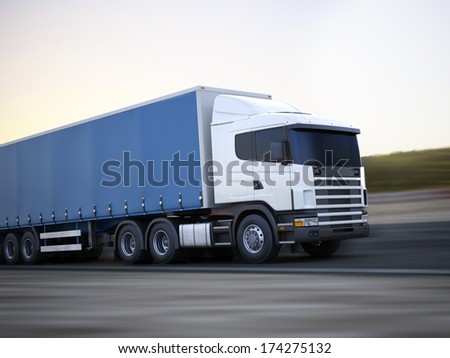 Truck on the road. Generic 3d model concept of a Cargo truck traveling down the road with motion blur. Room for text or copy space. - stock photo