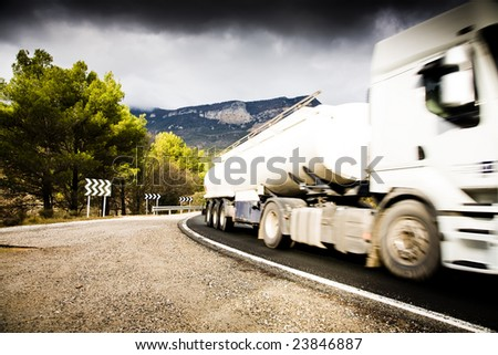 Truck On The Road. Pyrenees Mountain. Spain. - stock photo