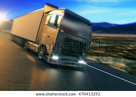 Truck on the road. Side view of blurry vehicle on countryside background. 3D Rendering