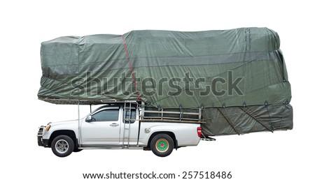 truck overloaded isolated white background - stock photo