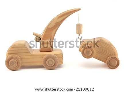 truck pulling a car - stock photo