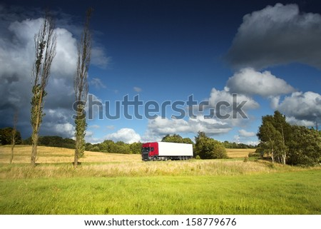 Truck ridden landscape - stock photo