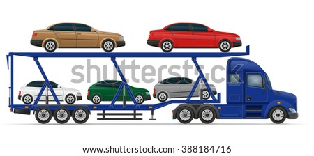 truck semi trailer for transportation of car concept illustration isolated on white background - stock photo