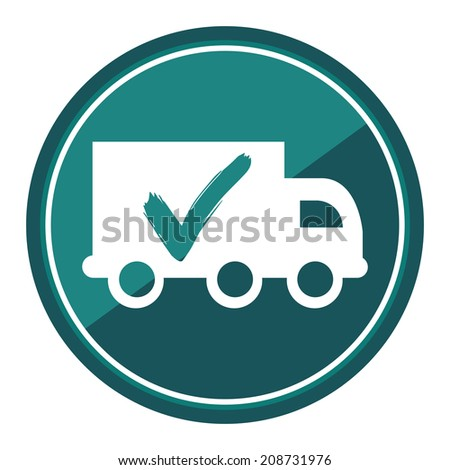 Truck, Shipping, Logistic System Sign on Blue Circle Icon, Button, Label Isolated on White - stock photo