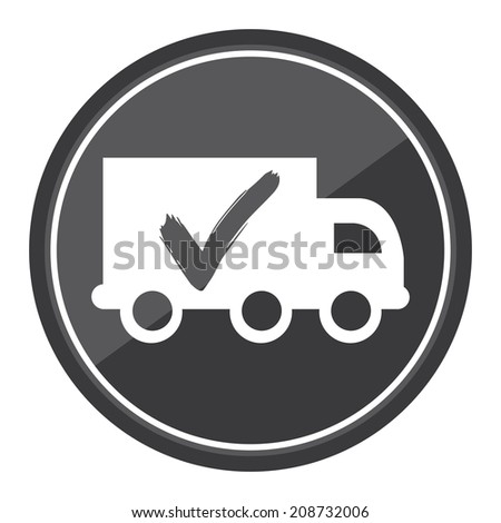 Truck, Shipping, Logistic System Sign on Gray Circle Icon, Button, Label Isolated on White - stock photo