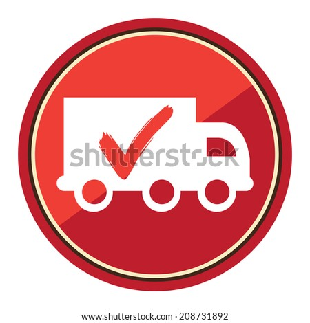 Truck, Shipping, Logistic System Sign on Red Circle Icon, Button, Label Isolated on White - stock photo
