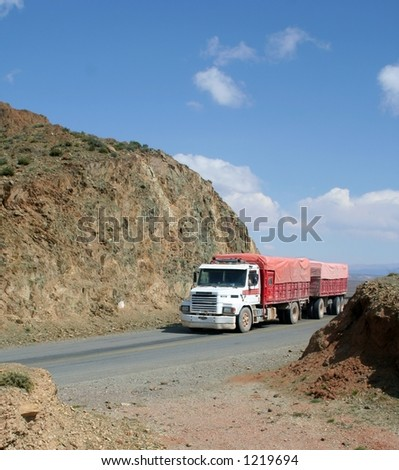Truck through the mountains