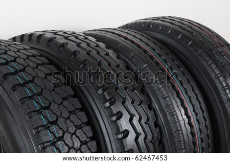 Truck tires. - stock photo