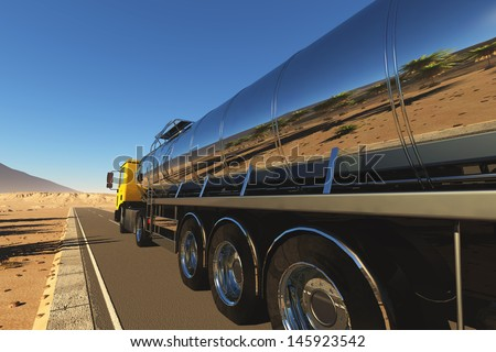 Truck to transport fuel. - stock photo