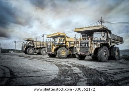 Truck 85 tons of lignite mining Moh, Lampang, Thailand, October 23, 2015. - stock photo