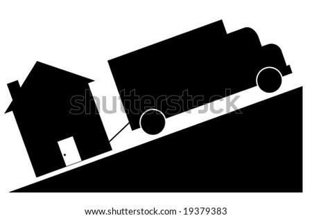 truck towing house - crashing house market concept - stock photo