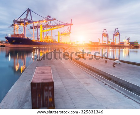 Truck transport container on road to port cargo - stock photo