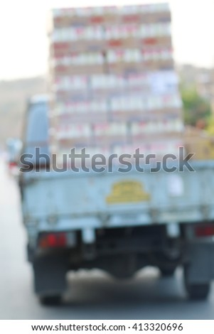Truck transport of blur - stock photo