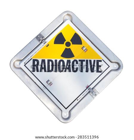 Truck transport radioactive warning sign. - stock photo