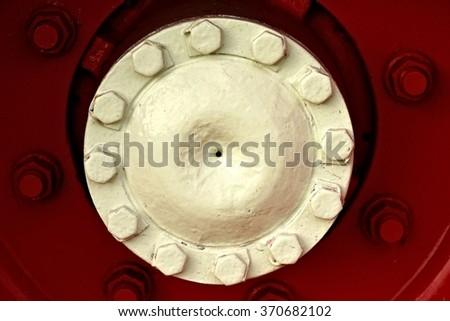 Truck wheel close-up / Truck rims detail / Big wheel detail - stock photo