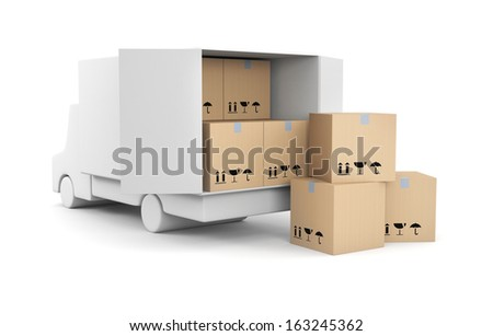 Truck with boxes - stock photo