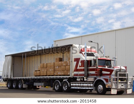 Truck with Boxes for load - stock photo