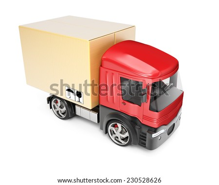 Truck with cardboard box isolated on white background. 3d render - stock photo