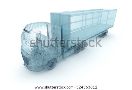 Truck with cargo container, wire model.  - stock photo
