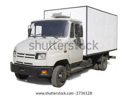 truck with refrigerator wagon (with clipping path for easy background removing if needed)