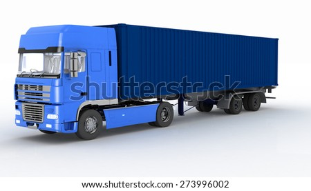 Truck with semi-trailer isolated on white background - stock photo
