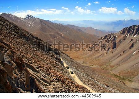 Trucks at 5300 meters above Sealevel, Khardungla Ladakh India - stock photo