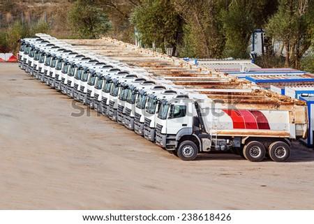 Trucks in row - stock photo