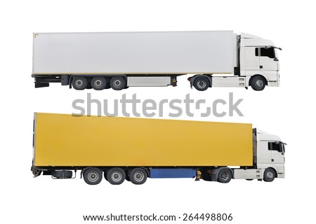 trucks isolated on a white background - stock photo
