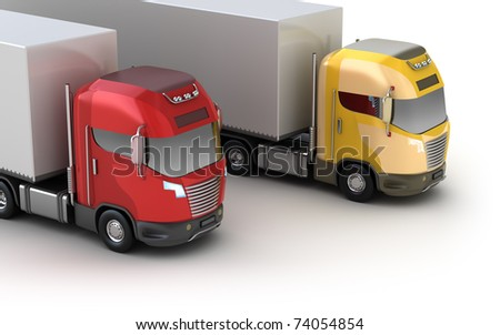 Trucks. Isometric view. Isolated on white. My own design. - stock photo