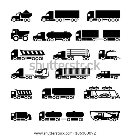 Trucks, trailers and vehicles icons set isolated on white - stock photo