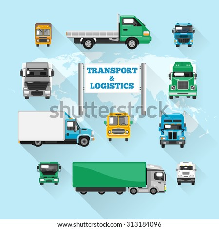 Trucks transport and logistics delivery icons flat with world map  illustration - stock photo