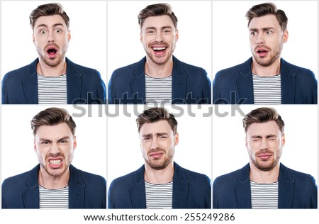True emotions. Collage of handsome young man expressing different emotions while standing against white background - stock photo