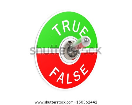 True false toggle switch - stock photo