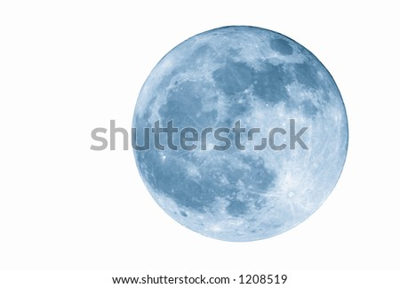 True full April moon (Michigan, USA), isolated for your use. 800mm lens with 2x TC and 1.5x 12MP camera sensor. 2400mm view (35mm equivalent). Cyanotone. - stock photo
