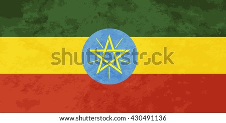 True proportions Ethiopia flag with grunge texture