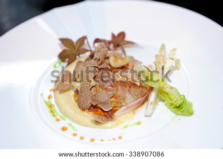 truffles and meat - stock photo