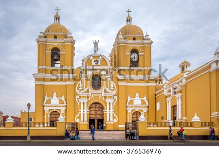 Trujillo, Peru - December 18, 2014:view of main square of the city Circa in Trujillo, Peru.People live as everyday life before the Christmas time
