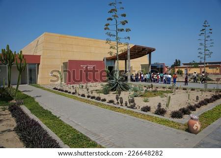 TRUJILLO, PERU - SEPTEMBER 2, 2014: Modern museum outside Trujillo in Peru housing artifacts of the Moche culture and nearby Huaca del Sol and Huaca de la Luna                                - stock photo