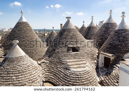 Trulli roof in Alberabello. Italy. - stock photo