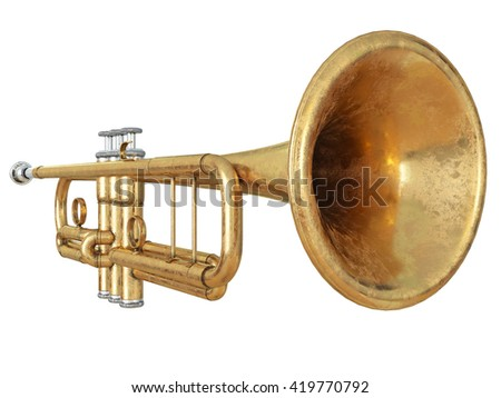 Trumpet isolated on white 3D rendering