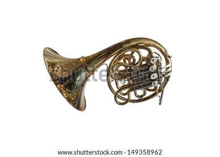 Trumpet isolated under the white background - stock photo