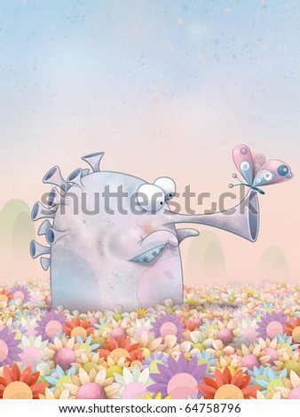 Trumpet monster sitting in a meadow of colorful flowers, gazing at a butterfly as it rests on its snout. - stock photo