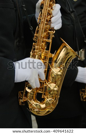 Trumpet player - stock photo