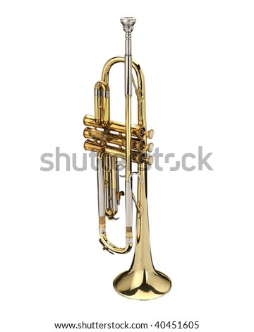 Trumpet, wind instrument. On a white background.