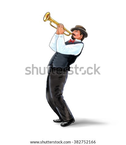 Trumpeter, Musician plays the trumpet jazz. Trumpeter on white background. Digital illustration and Hand drawing. For Art, web, print, wallpaper, greeting card, fashion, poster graphic design.